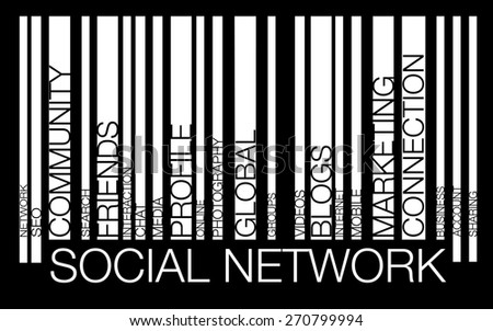 NETWORK word concept in barcode with supporting words, modern, concept - stock photo