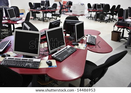 Networked desktop computers in a college modern laboratory.