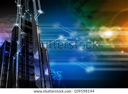 Networking Background - High Performance Servers / Hosting Networks Technology Theme. Technology Illustrations Collection - stock photo