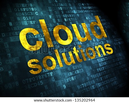 Networking concept: pixelated words Cloud Solutions on digital background, 3d render - stock photo