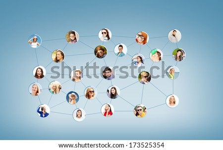 networking concept - social network - stock photo