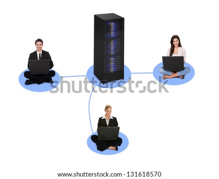 Networking diagram. Clients connected to the server. Isolated on white - stock photo