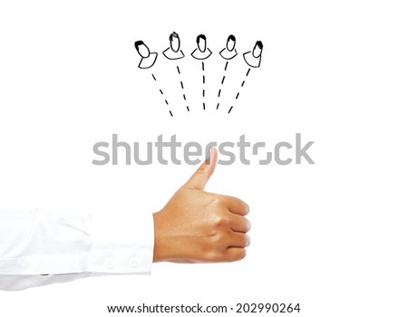Networking - Human hand showing thumb up isolated on a white background. - stock photo