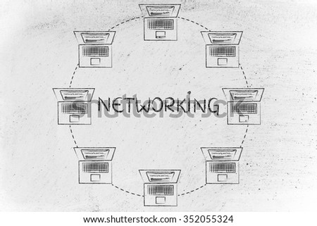 networking: laptops connected  and transferring data to each other in a circle-shaped network - stock photo