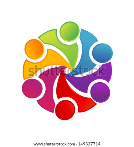 Networking teamwork social people vector or People symbols working as team - stock photo