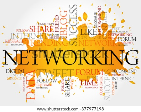 Networking word cloud, business concept - stock photo
