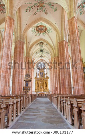 NEUBERG AN DER MURZ, AUSTRIA - SEPTEMBER 13, 2015: The nave of gothic Dom build in 15. cent.