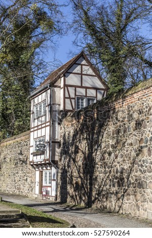 NEUBRANDENBURG, GERMANY - APR 1, 2016:  Wiek House along the medieval city wall, Neubrandenburg, Mecklenburg-Western Pomerania, Germany