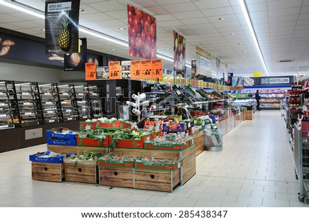NEUENHAUS, GERMANY - MAY 21: The fresh department of a Lidl supermarket. Lidl is a German discount chain, 9800 stores, in 28 countries in Europe. Photo taken on May 21, 2015 in Neuenhaus, Germany
