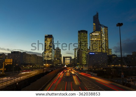 Neuilly city; France-January 13, 2016: The business district La Defense in evening, Neuilly city, France.