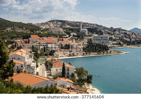 NEUM, BOSNIA AND HERZEGOVINA, a seaside resort on the Adriatic Sea, is the only coastal access in Bosnia and Herzegovina. - stock photo