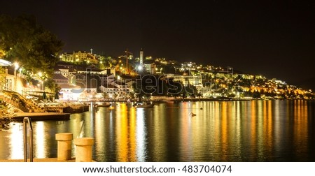 Neum resort, beautiful night landscape, Bosnia and Herzegovina, Europe