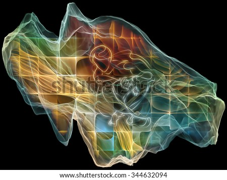 Neural Paperweight series. Background design of abstract shapes, colors and elements on the subject of mind, virtual reality, technology, science and design - stock photo