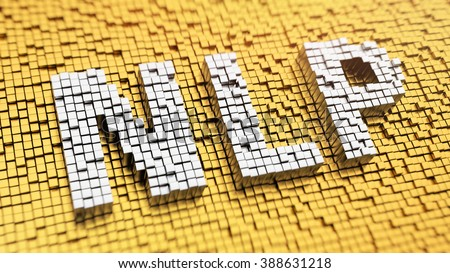 Neuro-linguistic programming. Pixelated acronym NLP made from cubes, mosaic pattern. 3D illustration image - stock photo