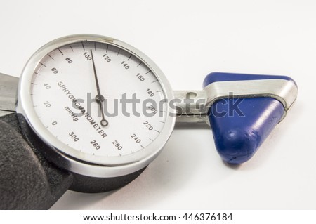 Neurological physical examination. Neurological reflex hammer and sphygmomanometer with normal physiological indicators of arterial pressure - stock photo