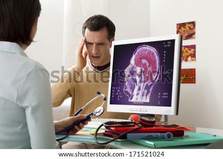 Neurology Consultation Man - stock photo