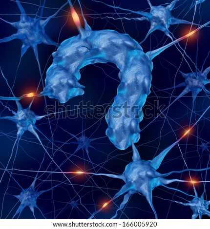 Neurology questions medical concept with active human neurons shaped as a question mark for research into brain and nervous system anatomy diseases as parkinson's Alzheimer's autism and dementia. - stock photo