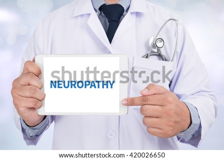 NEUROPATHY Doctor holding  digital tablet