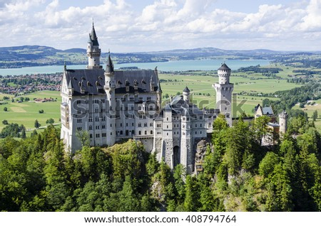 Neuschwanstein Castle above the village of Hohenschwangau in southwest Bavaria, Germany