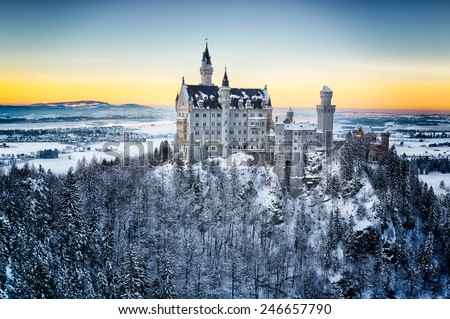 Neuschwanstein Castle at sunset in winter landscape. Germany - stock photo