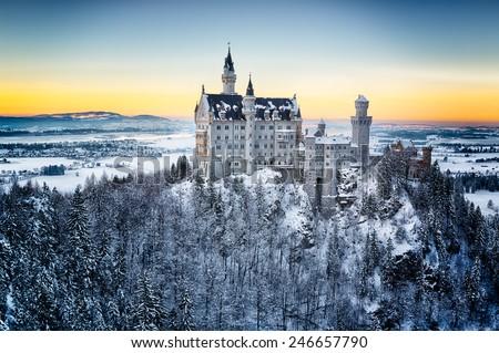 Neuschwanstein Castle at sunset in winter landscape. Germany - stock photo