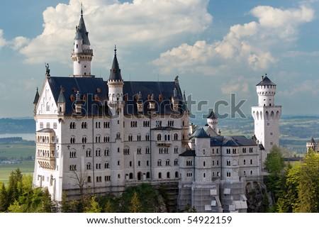 Neuschwanstein Castle, Bavaria, Germany. Close up view. - stock photo