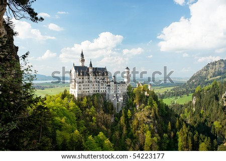 Neuschwanstein Castle, Bavaria, Germany. Wide view. - stock photo
