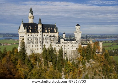 Neuschwanstein Castle from Marienbrucke (Mary Bridge), Bavaria, Germany. - stock photo