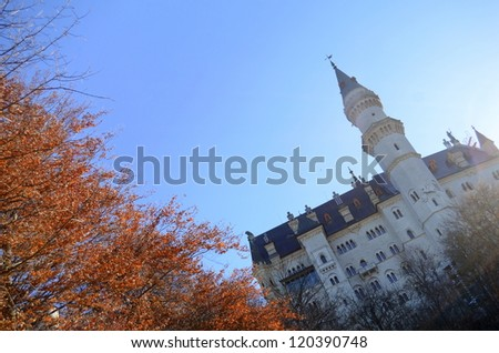 Neuschwanstein Castle, Germany In The Autumn With Copy Space - stock photo