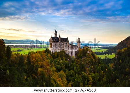 Neuschwanstein castle in a summer day in Germany - stock photo