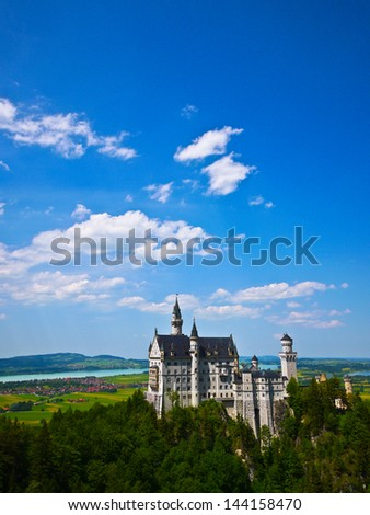 Neuschwanstein castle in Bavaria, Germany - stock photo