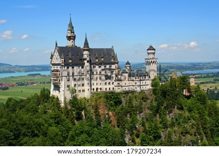 Neuschwanstein castle in Bavarian Alps, Germany - stock photo