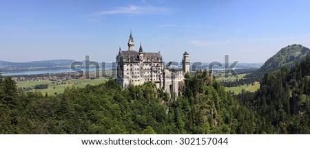 Neuschwanstein Castle in Bayern region - stock photo