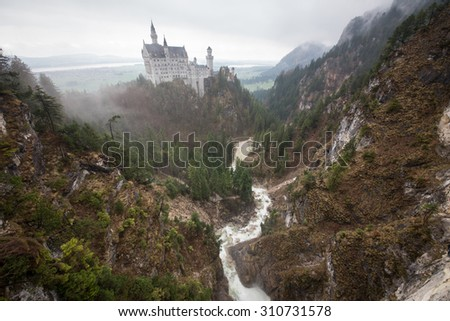Neuschwanstein castle in early spring, Bavaria, Germany - stock photo