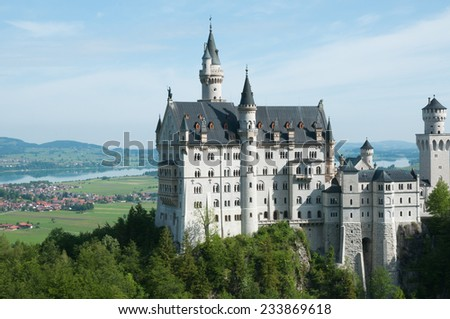 Neuschwanstein castle in landscape