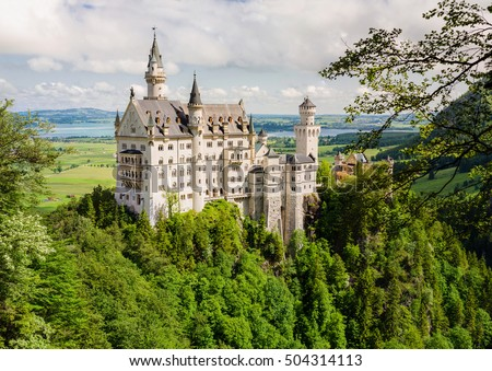 Neuschwanstein Castle is a nineteenth-century Romanesque Revival palace on a rugged hill near Fussen in southwest Bavaria, Germany.
