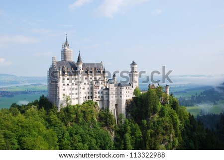 Neuschwanstein Castle is Romanesque Revival palace near F�¼ssen in southwest Bavaria, Germany - stock photo