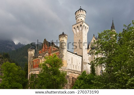 Neuschwanstein castle / The Neuschwanstein Castle in Bavaria, nearly to Munich - Germany. - stock photo