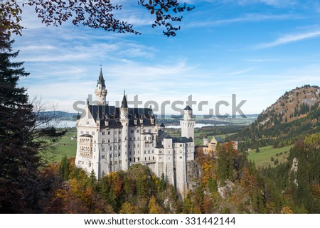 Neuschwanstein castle with colorful trees, Hohenschwangau, Bavaria, Germany
