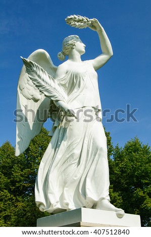 NEUSTRELITZ, GERMANY - AUGUST 29, 2012: A Greek statue in a park