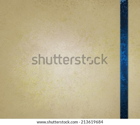 neutral beige or off white background with blue ribbon trim accent - stock photo