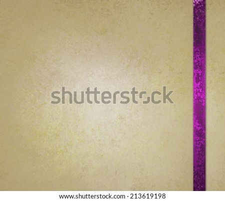 neutral beige or off white background with pink ribbon trim accent - stock photo