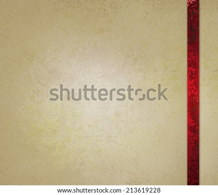 neutral beige or off white background with red ribbon trim accent - stock photo