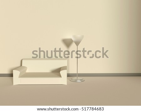 Neutral interior with velvet sofa in beige colors. 3D rendered Illustration