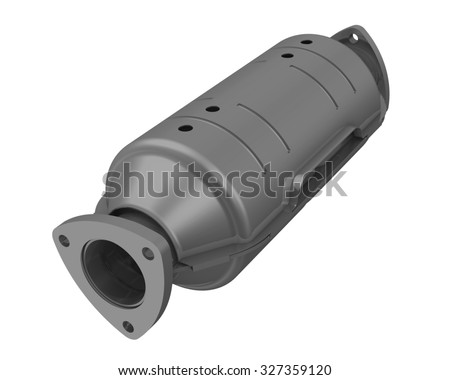 Neutralizer of exhaust system of the vehicle. Isolated - stock photo