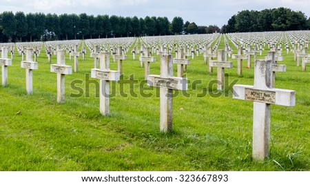 NEUVILLE SAINT-VAAST, FRANCE/EUROPE - SEPTEMBER 12 : French National War Cemetery near Neuville Saint-Vaast on September 12, 2015