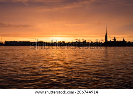 Neva river and Peter and Paul fortress, Saint Petersburg at sunset - stock photo