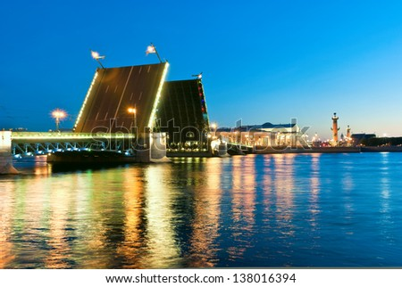Neva river and Spit of Vasilyevsky Island. White nights in St.-Petersburg, Russia
