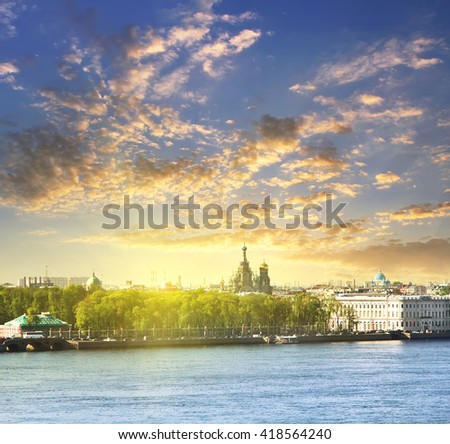 Neva river scape and the Church of the Savior on Spilled Blood (Cathedral of the Resurrection of Christ) in St. Petersburg, Russia. Travel background - stock photo