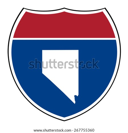 Nevada American interstate highway road shield isolated on a white background. - stock photo
